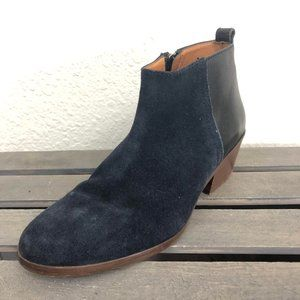 Madewell Ankle Boots Sz 6.5 Navy Blue Suede